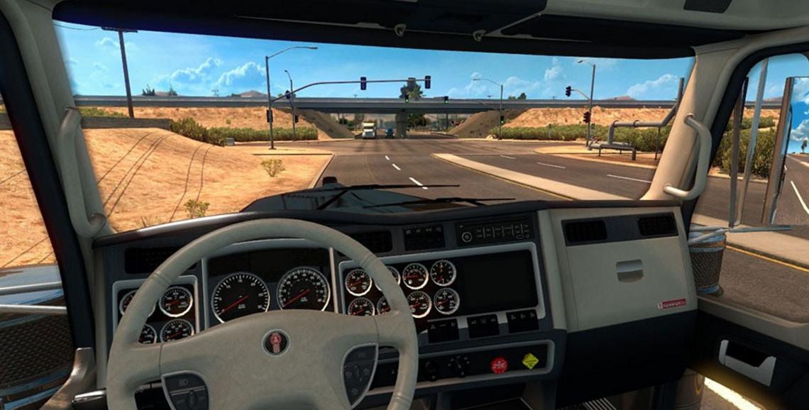 kenworth w900 blue white interior ats ats mod american truck simulator mod. Black Bedroom Furniture Sets. Home Design Ideas